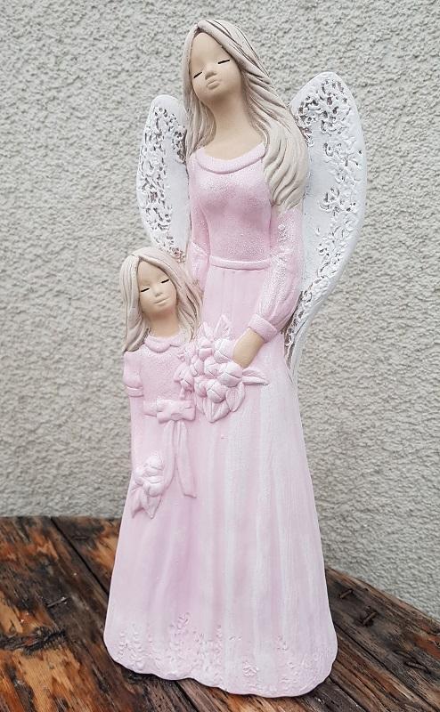 Andělka LUKRECJA  s holčičkou, růžová